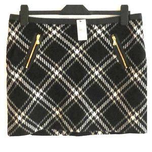 Express black and white plaid wool mini skirt